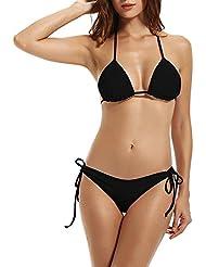 Garsumiss Femme Bikini brésilien maillot de bain noir Ensemble de bikini Ensemble de vêtements de plage secondaire