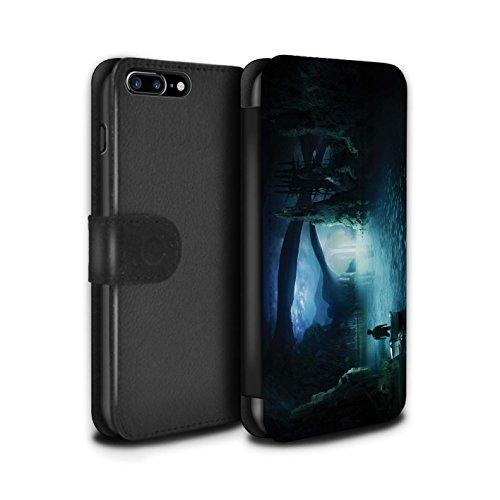 Officiel Elena Dudina Coque/Etui/Housse Cuir PU Case/Cover pour Apple iPhone 8 Plus / La Magie Tour Design / Fantaisie Paysage Collection Nuit Bateau Voyage