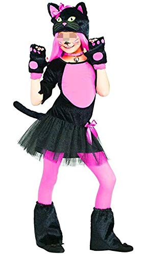 Kind Für Katze Kostüm - Forever Young Mädchen-Kostüm, Katzen-Kostüm, Halloween-Kostüm Gr. 7-8 Jahre, rosa/schwarz