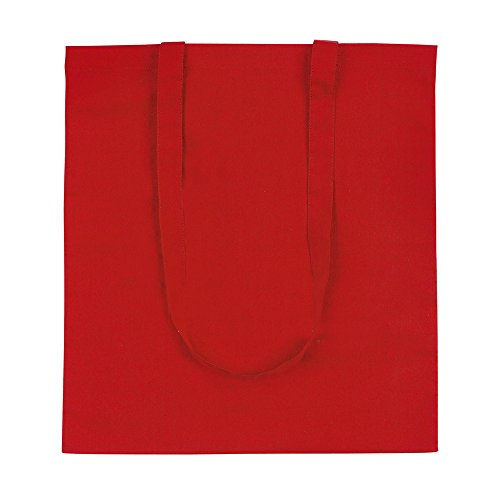 eBuyGB Pack di 5 100% 4oz cotone Shopping Tote Shoulder Bag (marrone) Rosso