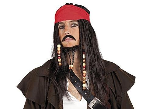 Costumes De Luxe Pour Homme Halloween - Perruque pirate avec barbuche et moustache assortie