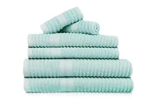 Restmor set di 6 asciugamani da bagno in puro cotone 550g per m² - a costine – verde acqua