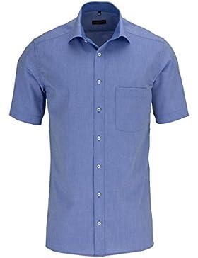 ETERNA Herren Kurzarm Hemd Modern Fit Chambray blau mit Patch 8500.17.C157
