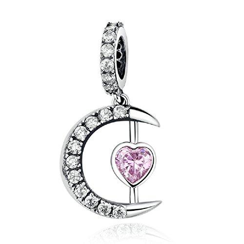 Chengmen - charm natalizio in argento sterling 925, a forma di luna e stelle, con zirconi trasparenti e rosa a forma di cuore, adatto a bracciali di tipo europeo