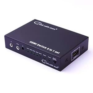 LCS - SWITCH HDMI Automatique - 5 ports avec Télécommande - 5 sources HDMI vers 1 écran - Full HD 1080p - 3D Optimisé - Amplicateur intégré - Connecteurs plaqués or - Certifié HDCP - Boitier en métal compatible avec tous les téléviseurs