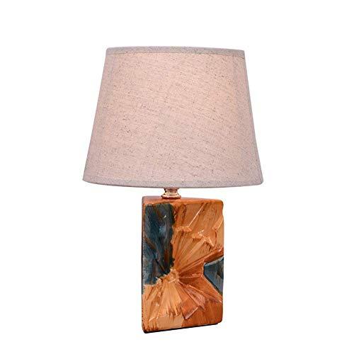 Tischlampe Keramik Tischleuchte Beige Schreibtischlampe Nachttischlampe Stoff Lampenschirm Rund,E14 Leselicht Dekoleuchten Triangular Glatte Farbe Glasur Körper Schlafzimmer Wohnzimmer,A1 -
