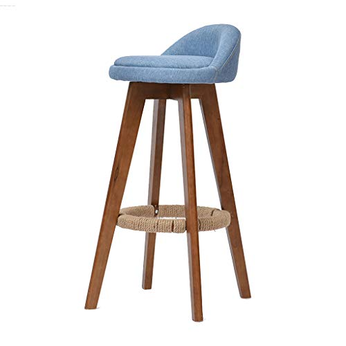 Tabouret de bar table en bois massif table à manger chaise chaise de bar chaise haute Salle à manger Chaises (Color : Blue, Size : 37 * 37 * 82cm)
