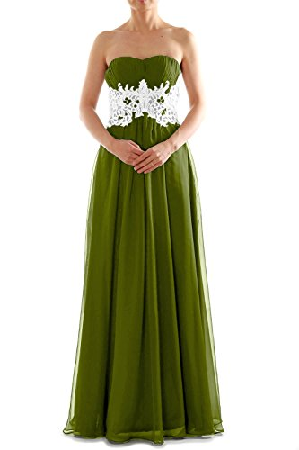 MACloth Women's Strapless Long Lace Chiffon Prom Dress Formal Party Ball Gown Olivgrün