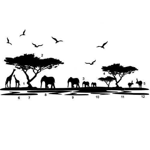 Lytshop Einfache Installation DIY Wandaufkleber Afrikanischer Elefant Muster, Schwarz Removable Wandaufkleber Dekoration
