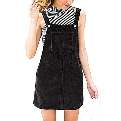 ßes Kleid,Frauen Cord Gerade Hosenträger Mini Lätzchen Insgesamt Pinafore Casual Pocket Dress ()