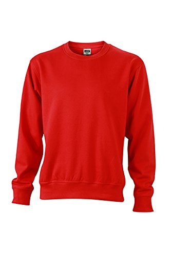 James & Nicholson Herren Workwear Sweat Sweatshirt Rot (Red)