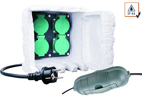Vierfachsteckdose Außensteckdose STEIN, 10m Kabel inkl. Sicherheitsbox IP44
