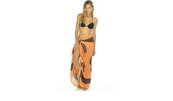 8066fa8ffc Back From Bali Womens Sarong Swimsuit Beach Cover Up Mandala Design Sequins  Clip - Orange -: Amazon.co.uk: Clothing