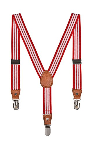 Baby Kinder Hosenträger Streifen Gürtel Elastisch Leder 3 Clips Jungen Mädchen Hosen Röcke Tutu Shorts Bequem Träger - Rot Weiß (Rote Hosenträger Baby)