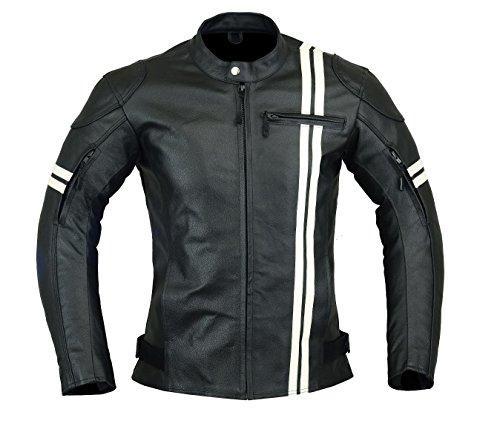 Giacca corazzata da uomo - per motocicletta, sportiva - altamente protettiva - in pelle, colori: nero e bianco - LJ-3021