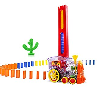 Asdomo Domino Train Toy Set , Rally Electric Train Model with Light and Sound , 60pcs Colorful Domino Game Building Blocks Car Truck Vehicle Stacking Toy for Children Kids Boys Girls
