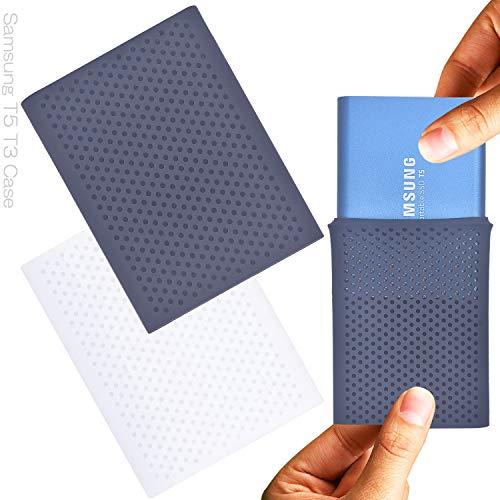 Larcenciel Etui de protection antichoc pour Samsung T5/T3/T1 SSD, 2 pc Silicone Storage Voyage Case for Samsung T5/T3/T1 Disque SSD externe portable(250G/500G/1T/2T)