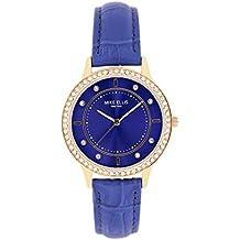 Mike Ellis New York Mujer-reloj Blue Line analógico de cuarzo cuero SL5612A1