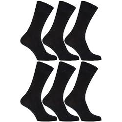Calcetines sin elastico suaves hombre/caballero Aptos para diabéticos - Paquete de 6 pares de calcetines (39-45 EUR/Negro)