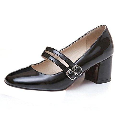 Taoffen Senhoras Fivela Clássicos De Vendas De Blocos Med Maryjanes Sapatos Bombas Preto