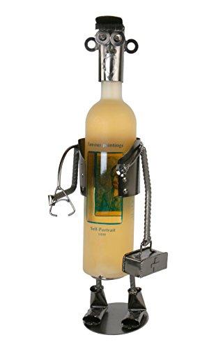 Arzt Flaschenhalter Metall Weinflaschenhalter Sekthalter Figur Deko Stethoskop