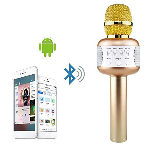ALDD Bluetooth kabelloses Karaoke Mikrofon tragbares Zuhause KTV Handmikrofone für Handys Tablets Mic mit Disco Lights, aa -