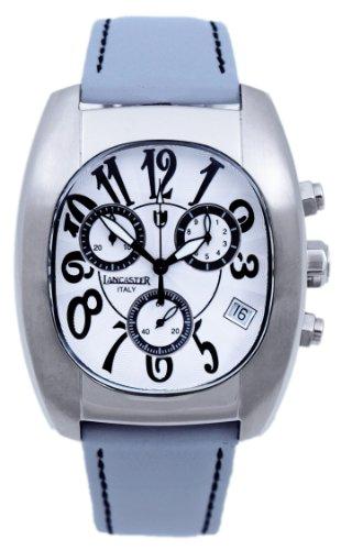 Lancaster 0289WSW - Reloj cronógrafo de cuarzo para hombre con correa de piel, color blanco