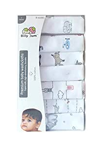 Billy Bum Washcloth for New Born 100% Hosiery Cotton/Reusable Extra Soft Face Towels washcloth for Babies (7 pieces) Color may vary (Pack of 1)