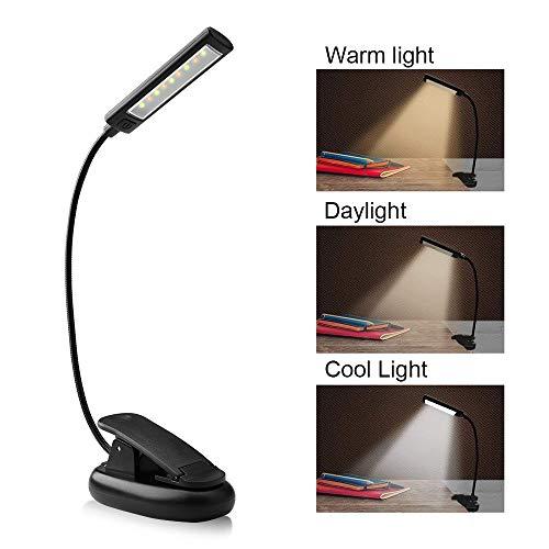 Leselampe , solawill LED Klemmleuchte mit 9 LEDs USB Wiederaufladbare LED Buchlampe  3 Helligkeit 360° Flexibel Leselampe Buch für Kindle, Buch, Computer, Bett