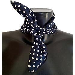 Pañuelo para el cuello de estilo de los años 50, color azul con lunares blancos