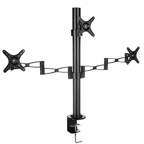 "STAGIANT Support Bureau Multi Ecran à Double Bras Pivotants l' écran LED LCD Plasma 13""- 27"" Pouce/ Extension 180 °,Inclinable ± 90 °,MAX VESA 100mm x 100mm: Trois Téléviseurs/Moniteurs LCD Horizontal et Vertical G53A"
