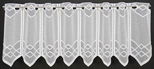 Scheibengardine mit Zacke 30 cm hoch   Breite der Gardine durch gekaufte Menge in 14,5 cm Schritten wählbar   Farbe: Weiß   Vorhang Küche Wohnzimmer