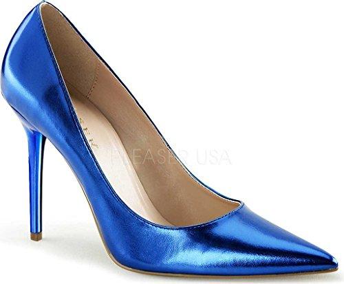 Pleaser  CLASSIQUE-20, Chaussures à talons - Avant du pieds couvert femmes Blue Metallic Pu