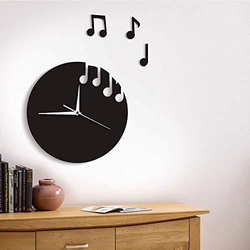 GuoEY 1 Stück Schwimmende Noten Wanduhr Modernes Design Musik Noten Flog Mauer Watch Rock Roll Home Decor Musikliebhaber GeSchönk