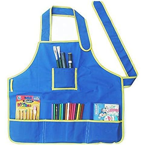 Tinksky Bambini Impermeabile Art Craft grembiule grembiule per fai da te pittura disegno (Blu)