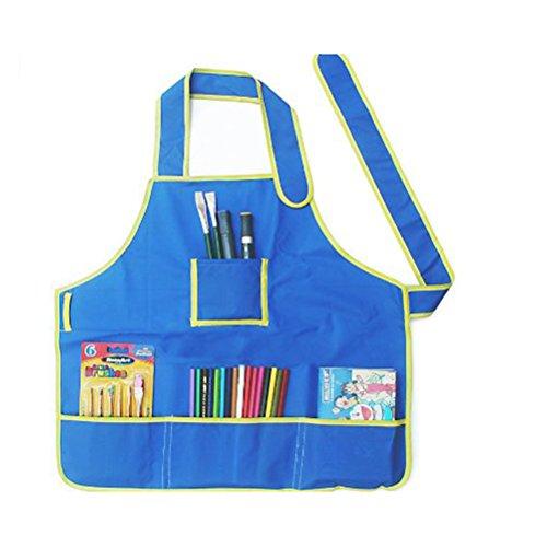 Pixnor Mestiere grembiule grembiule bambini con 4 tasche per la pittura per bambini scuola arte classe