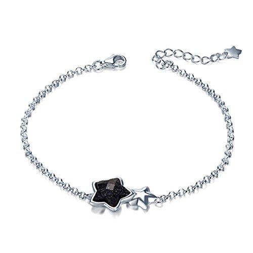 Argento sterling Silverage nero Galaxy Star charm braccialetto, 16,5cm + 3,3cm di estensione