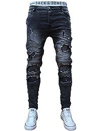 Details zu 70LF29 3 Schwarze Jeans Herren Junge Slim Cargo Bikerjeans Stretch