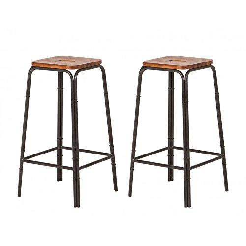 Juego de 2taburetes de bar estilo industrial de madera de acacia maciza y metal / Factura y acabados cuidados –Colección Workshop
