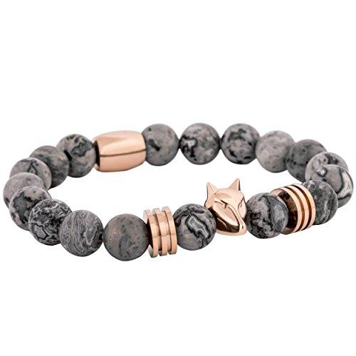 Akitsune Obsidian Perlen-Armband | Armschmuck Damen Herren Onyx Lavastein - Rosegold Grau - 20cm