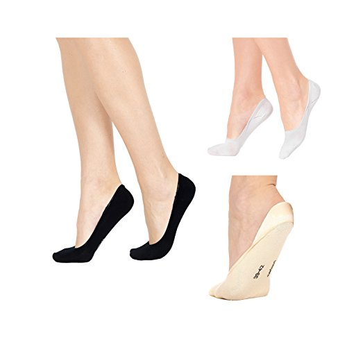 Pompea 6 paia calzini calza salvapiede uomo donna nero beige bianco (35/38, beige)