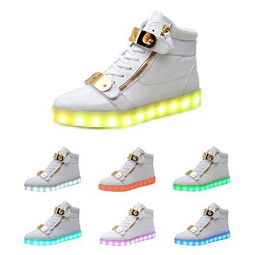 (Présents:petite serviette)JUNGLEST Motif 7 Changement de couleur déclairage LED clignotant Unisexe Sneakers Chaussure Blanc