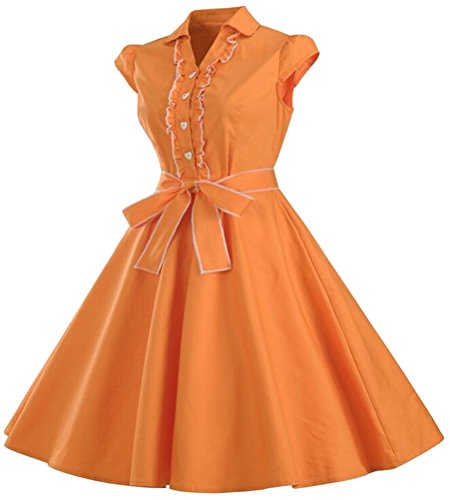 Brinny Femme Robe Vintage Ann¨¦es 50 Robe de Bal Polka Pin-up 'Audrey Hepburn' Rockabilly pour Soir¨¦e Cocktail Orange