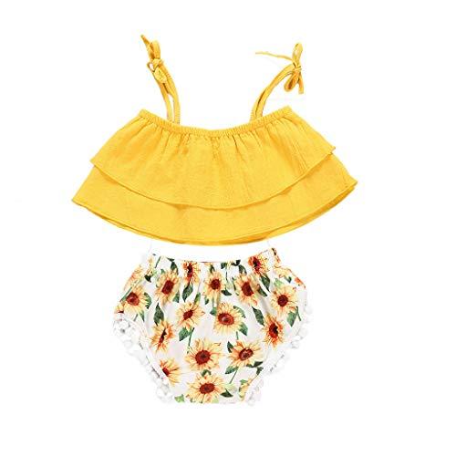 Cwemimifa Mädchen T-Shirt Braun,Kleinkind Kinder Baby Mädchen Rüschen Blumendruck Tops Bowknot Shorts Kleidung Outfits,Badminton-Bekleidungssets für Mädchen,Weiß