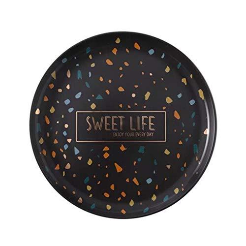 QFF-Obstgericht Haushaltsgerichte, keramikplatte bar Platte tragbare tablett küchenplatte Garnelen Platte getrocknete obstteller süßigkeiten Platte 19-25 cm Geschirr (Farbe : Schwarz, größe : 25cm)