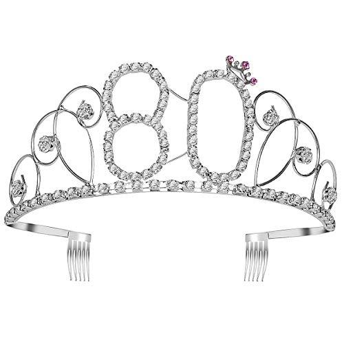 tag Krone Strass Königin Tiara mit Seitenkamm Geburtstagsparty Haarschmuck (Silber) ()