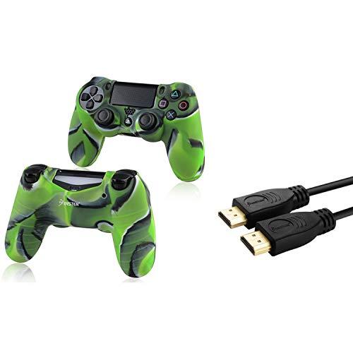 Insten Tarnung Marine-Grun-Silikon-Haut-Kasten mit FREE 10FT High Speed ??HDMI-Kabel mit Ethernet M / M kompatibel mit Sony PlayStation 4 (PS4) Regler -