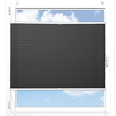 Plissee Rollo / Jalousie   Sichtschutz ohne Bohren, Klemmfix   Faltstore in moderner Crushed Optik   Schwarz   Größe wählbar (100 cm Länge x 100 cm