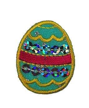 alles-meine.de GmbH Osterei 2,6 cm * 3,3 cm Bügelbild - Aufnäher Applikation Ostern Ostereier buntes Turkis blau gelb (Oster-bekleidung Für Jungen)