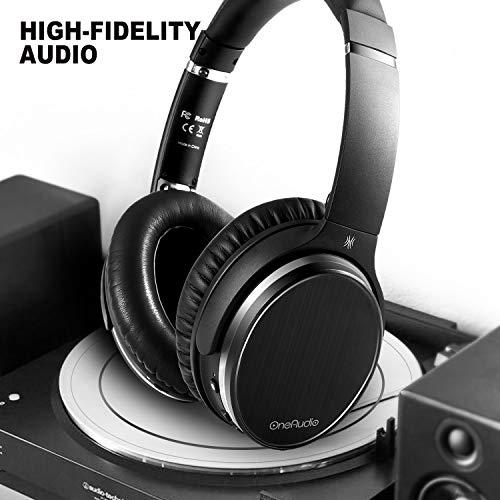 OneAudio Active Noise Cancelling Kopfhörer ANC Bluetooth Over Ear Headset mit aktiver Rauschunterdrückung 18 Stunden Spielzeit, integriertem Mikrofon, Schwarz - 2